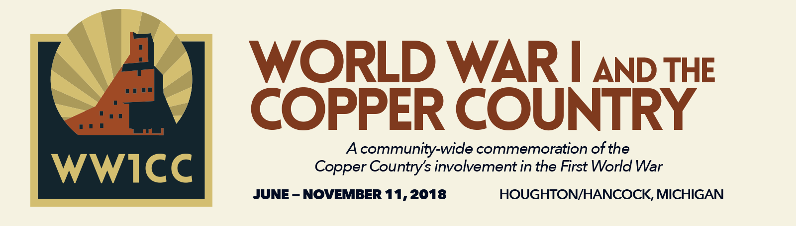 World War 1 and the Copper Country project logo and event details